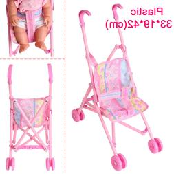 Doll Stroller Pushchair Safe Baby Dolls Carriages Pretend To