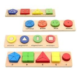 Educational Puzzle Set Wooden Geometry Wood Toys For Baby Ki