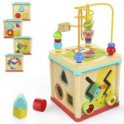 Educational Wooden Toy Kids Activity Cube Toddler Learning B