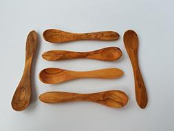 """Set of 6 Egg Spoon 4.33"""" - Olive Wood Small Spoons - Wooden"""