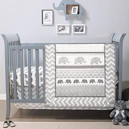 Elephant Walk 4-Piece Jungle Geometric Chevron Grey Baby Cri