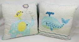 2 NEW Decorative Throw Pillows~Whale & Elephant~Kid Baby BOY