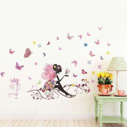 Fairy Flower Butterfly Style Wall Sticker Decal For Baby Nur