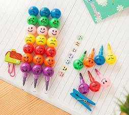 Fashion 7 Colors Cute Stacker Swap Smile Face Crayons Childr