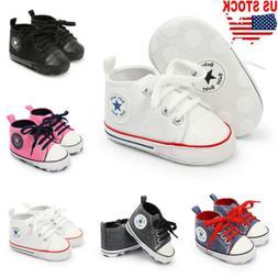 Fashion Baby Kids Boys Soft Sole Canvas Crib Shoes Anti-slip