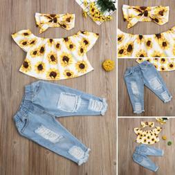 Fashion Kids Baby Girls Off Shoulder Tops Denim Pants Outfit