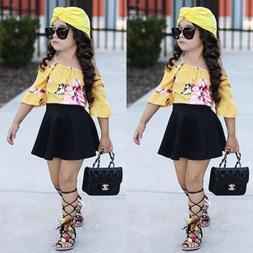 Fashion Kids Baby Girls Flower Off Shoulder Tops Skirts Dres