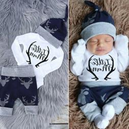 Fashion Newborn Baby Boys Clothes Romper Tops+Pants+Hat Xmas
