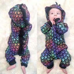 Fashion Newborn Baby Boys Girls Dinosaur Hooded Romper Plays