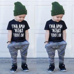 Fashion Toddler Baby Boy Clothes T-shirt Top+Camo Long Pants