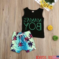 Fashion Toddler Baby Boy Tops Vest Beach Short Pants 2Pcs Ou
