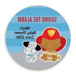 Fire Fighter African American - Round Personalized Baby Show