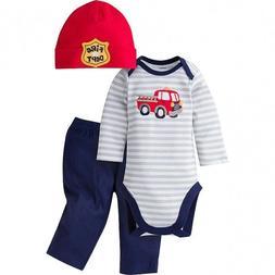 Fire Truck Baby Gerber Onesie Set - Newborn