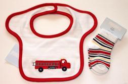 Fire Truck Bib + Socks Set GYMBOREE Infant Boys Red LITTLE F