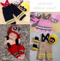 FIREMAN FIGHTER Handmade Newborn Baby Girl Boy Crochet Knit