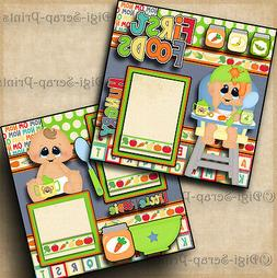 FIRST FOODS ~ BABY BOY ~ 2 premade scrapbooking pages paper