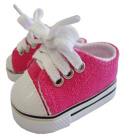 Fits Bitty Baby + Twins; Hot Pink Sneakers Canvas Gym Shoes