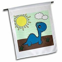 3dRose fl_13797_1 Cute Baby Blue Dinosaur Scene Garden Flag,
