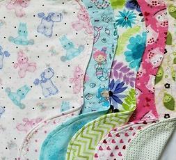 Flannel Burp Cloths Girls Large Contoured Double Fabric Mix