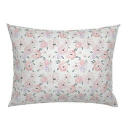 Floral Peonies Blush Green Baby Clothing Nursery Girl Pillow
