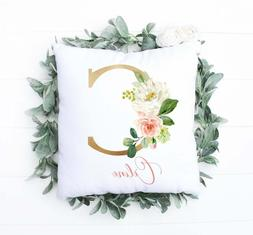 Floral Personalized Pillow For Baby Nursery - Monogrammed Le