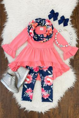 Floral Toddler Kids Baby Girl Cotton Top Dress Pants Legging