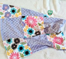 Flower Minky Print, Baby Blanket, Car Seat, Security Blanket