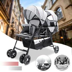 Folding Double 2 Seat Twins Baby Trolley Front And Back Tand