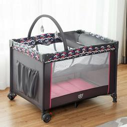 Folding Travel Baby Crib Playpen Playard Pack Infant Toddler