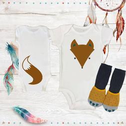 Funny Fox Tail Neutral Onesies & Socks Baby Shower Gift Set