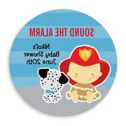Future Fire Fighter Asian - Round Personalized Baby Shower S