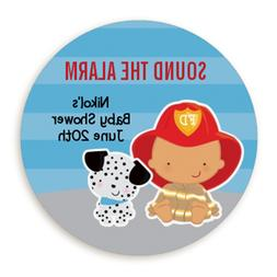Future Fire Fighter Hispanic - Round Personalized Baby Showe