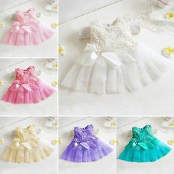 Girl Dress Bow Princess Flower Kids Baby Tutu Lace Dresses P