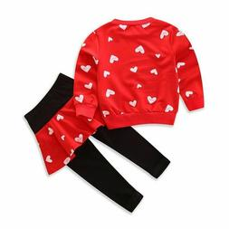 Girls Baby clothes kids girls tops+Skirt pants Set Outfits a