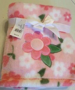 Baby Gear Girls Flower Print Plush Baby Blanket Pinks/White