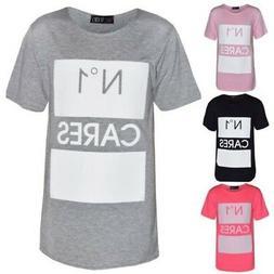 Girls Top Kids Designer's No 1 Cares Print Fashion T Shirt T