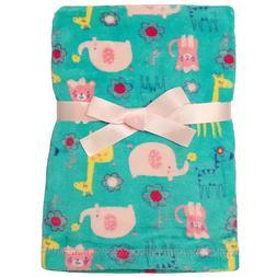 Baby Gear Girls Zoo Animal Print Plush Blanket Aqua/Pink/Mul