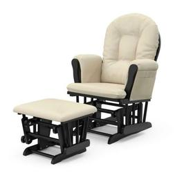 Glider Ottoman Set Rocking Chair Black Beige Nursery Boy Gir