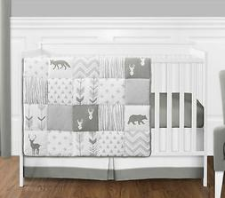 Sweet Jojo Gray & White Woodland Animal Baby 4p Crib Bedding