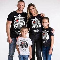 Halloween Parent-child Shirts Tops Women Men Kids Short Slee