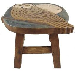 Hand Carved Wise Owl Wood Child Kitchen Bath Step Stool