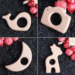 Handmade Natural Beech Wood Teether Teething Ring Baby Toys