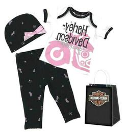 Harley-Davidson® Infant Baby Girls 3pc Outfit Set + Gift Ba