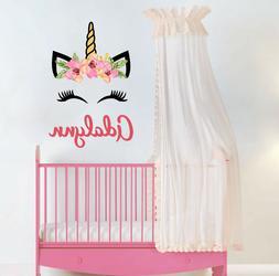 Head Unicorn Sticker Decor Baby Girls Name Wall Decal Nurser