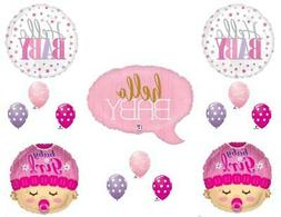 Hello Baby Girl Shower Party Balloons Decoration Supplies Bu