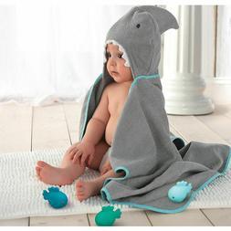 Hooded Shark Towel + 3 Fish Bath Toys Baby Toddler Bath Show