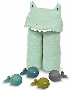 Hooded Soft Baby Unisex Frog Towel With Floating Bath Whales