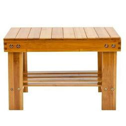 Hot Bamboo Shower Bench Seat Bath Wood Steam Sauna w/ Storag