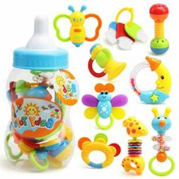 HOT Infant Rattle Teething Baby Toys With Bottle Storage For