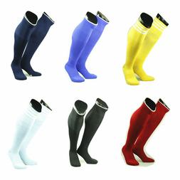 HOT Mens Boys Sports Football Soccer Plain Long Socks Knee H